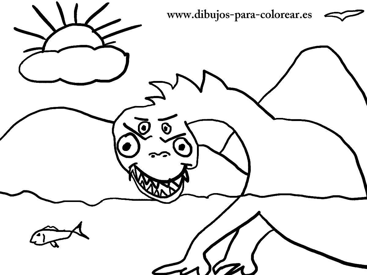 Monstruo Del Lago Ness Dibujos Para Colorear