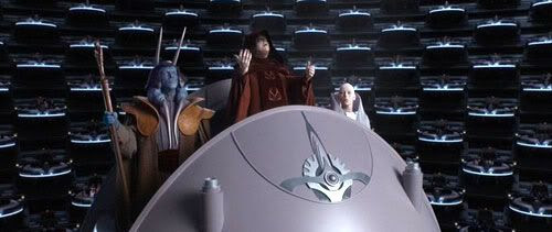 Darth Sidious addresses the Republic Senate in 'Revenge of the Sith'.
