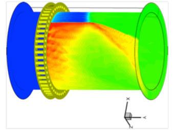 Модель вращающейся детонации в RDE. Изображение NRL