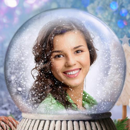 Snow Globe Photo Effect Personalized Christmas Photo Card