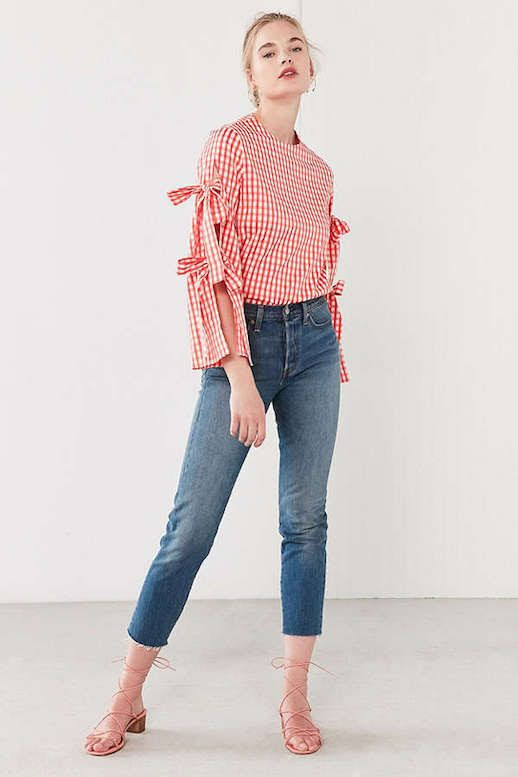 Le Fashion Blog Under $200 Gingham Print Tie Sleeve Blouse Cropped Jeans Strappy Sandals Via Urban Outfitters
