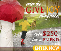 Enter the GIVE:JOY Sweepstakes from author Lauraine Snelling!