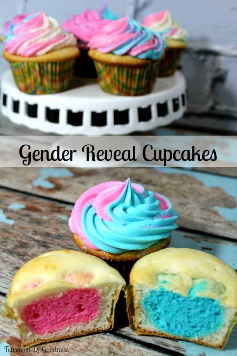 Teaspoon Of Goodness Gender Reveal Cupcakes