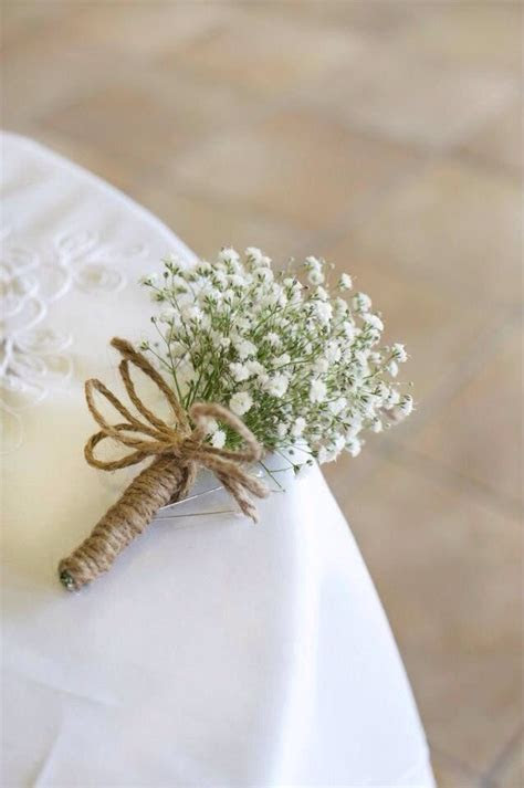 small white rose baby's breath rustic bouquet   Baby's