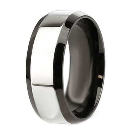 Mens Stainless Steel 8MM Two Tone Engagement Wedding