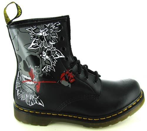doc martens sandals dealz dr martens women 39 s rose skull boot. Black Bedroom Furniture Sets. Home Design Ideas