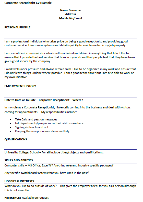 Corporate Receptionist Cv Example Icover Org Uk