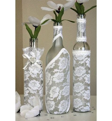 ONE Decorated Wine Bottle Centerpiece White Lace. Wine