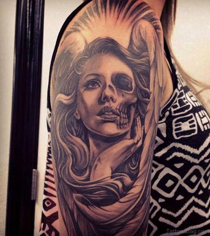 62 Elegant Portrait Tattoos Designs On Shoulder