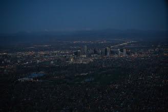 Denver Sunrise Aerial 21 min before sunrise
