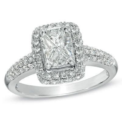 1 CT. T.W. Composite Emerald Cut Diamond Frame Engagement