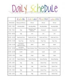 Nanny Daily Schedule Template | Daily Planner