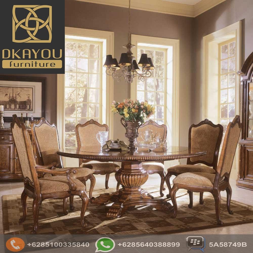 Meja Makan Jati Jepara Vintage Meja Bundar Dkayou Furniture Indonesia