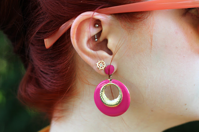 Rook Piercing, Nautical Studs, Pink Round Earrings