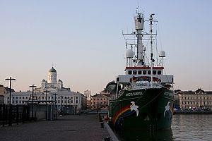 Greenpeace ship Arctic Sunrise alongside in He...