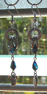 Stainless steel washer wire wrapped with glass crystal for a pair of earrings