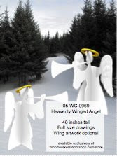 Heavenly Winged Angel Yard Art Woodworking Pattern - fee plans from WoodworkersWorkshop® Online Store - angels,3D,3-D,winter,Nativity,Christmas,yard art,painting wood crafts,scrollsawing patterns,drawings,plywood,plywoodworking plans,woodworkers projects,workshop blueprints