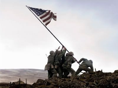 Soldiers raise up the American flag in Iwo Jima in FLAGS OF OUR FATHERS.
