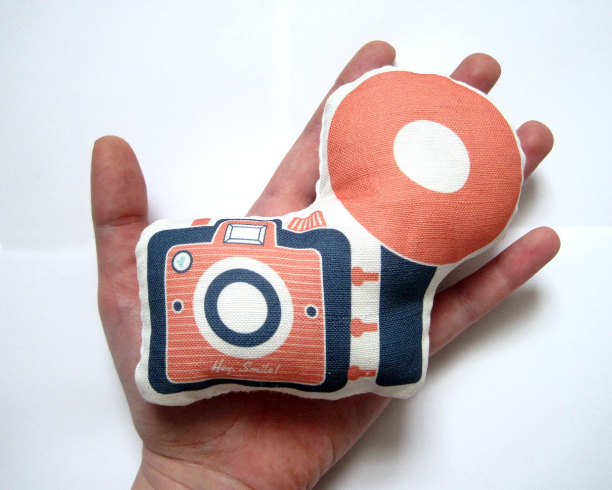 Mini Camera Brownie Plush / Pillow in Pink and Navy by Yellow Heart Art - YellowHeartArt
