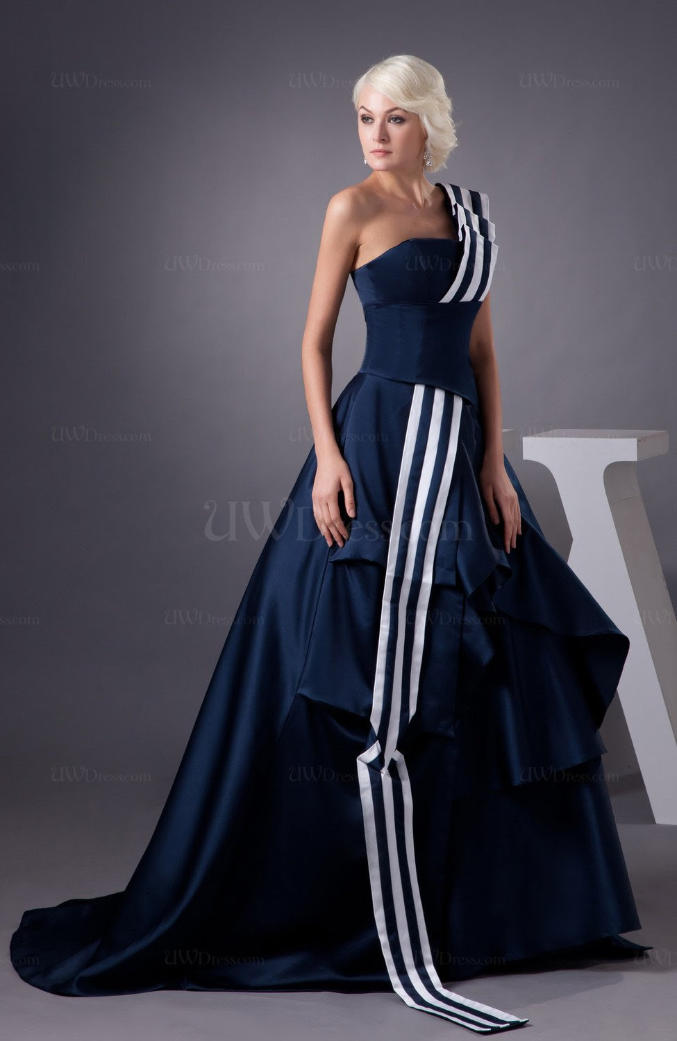 navy blue summer cocktail dress long fashion open back
