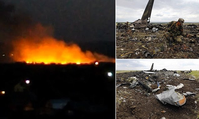 A CCTV camera in Luhansk captured the moment the plane hit the ground, causing a huge fireball which killed all 49 Ukrainian soldiers on board.