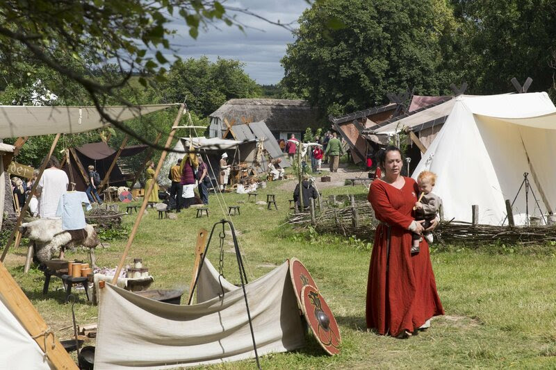 A reconstruction of a Viking marketplace