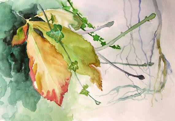 Fall leaves Fine Art Print of original by VerbruggeWatercolor, $18.00