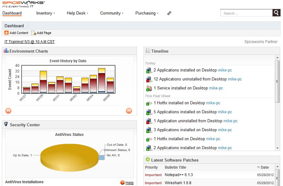 برنامج مجانى لإدارة ورقابة الشبكات ورصد المشكلات والاحداث الهامة Spiceworks 5.3.75941