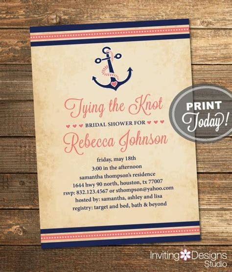 Nautical Bridal Shower Invitation, Tying The Knot, Anchor