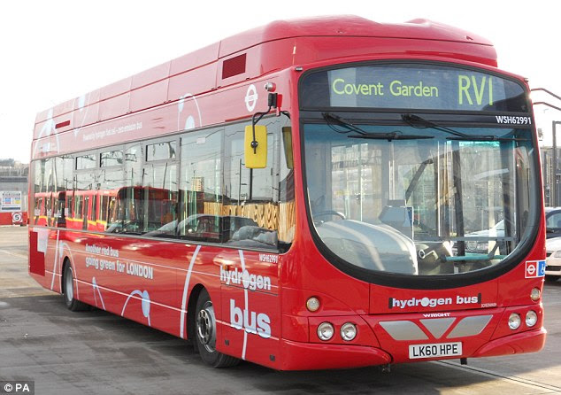 Green energy: A hydrogen fuel bus in London. Unlike existing 'green' fuels the new fuel under development will not require motorists to upgrade their vehicles