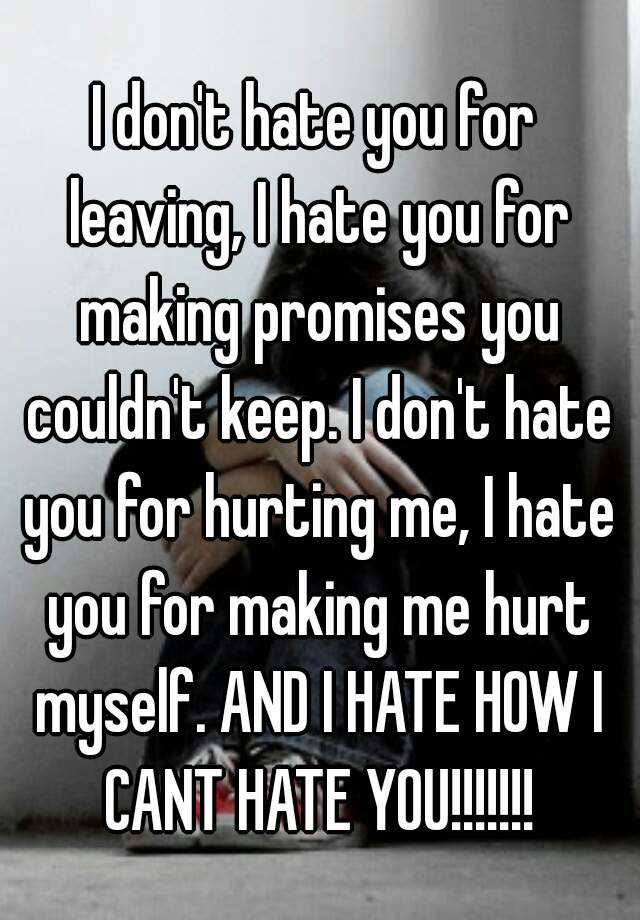 I Dont Hate You For Leaving I Hate You For Making Promises You