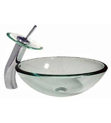 Frostedclear Vessel Sink With Standardwaterfall Faucet Combo