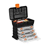 VonHaus Utility Tool Box Portable Organizer Case with 4 Drawers & Adjustable Dividers
