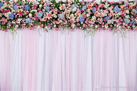 2018 7x5ft White Pink Wedding Curtain Backdrops Colorful