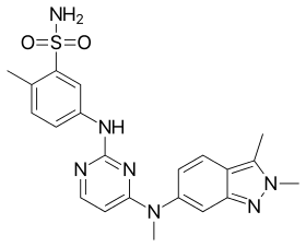 English: Chemical structure of pazopanib.