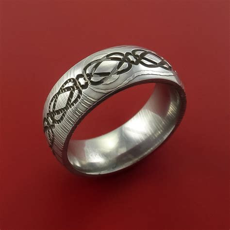 Damascus Steel Celtic Knot Ring Infinity Design Wedding