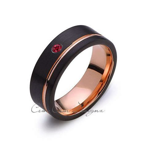 8mm,Mens,Red Ruby,Black Brushed,Rose Gold,Tungsten Ring