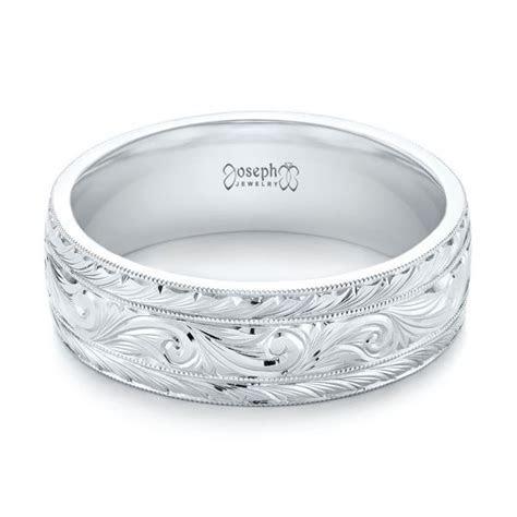 Custom Hand Engraved Men's Wedding Band #103458   Seattle