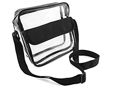 NFL Stadium Approved Clear Messenger Bag Clear Shoulder Bag Transparent Purse with Adjustable