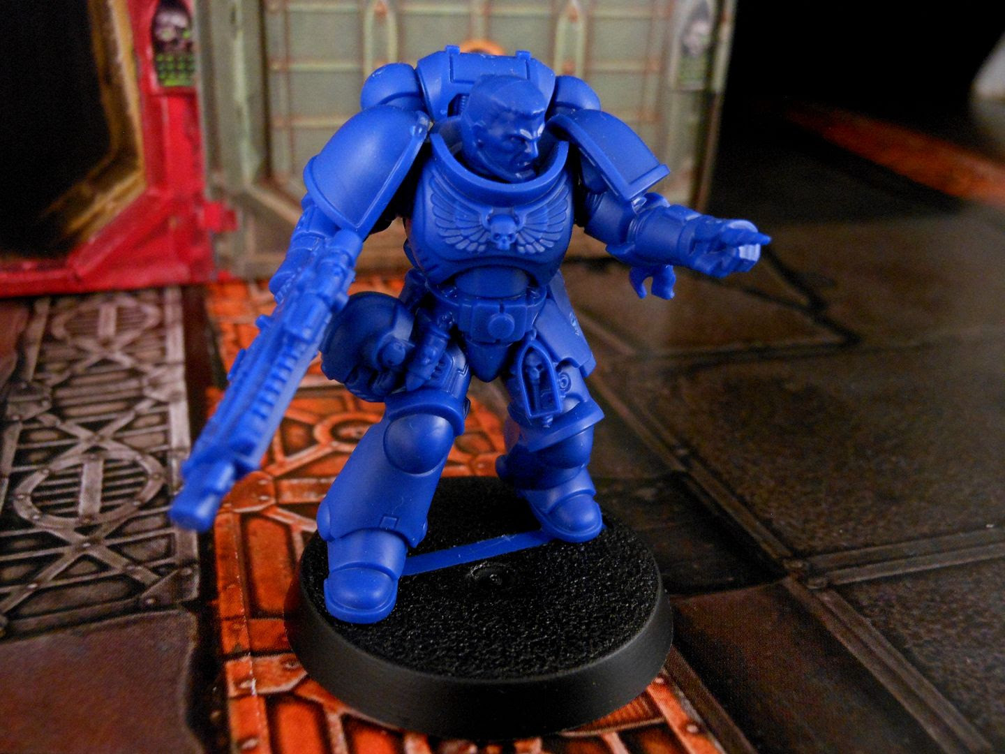 An Intercessor Space Marine Sergeant from Warhammer 40,000: First Strike.