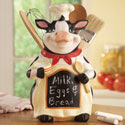 Cow Chef Chalkboard Kitchen Utensil Holder