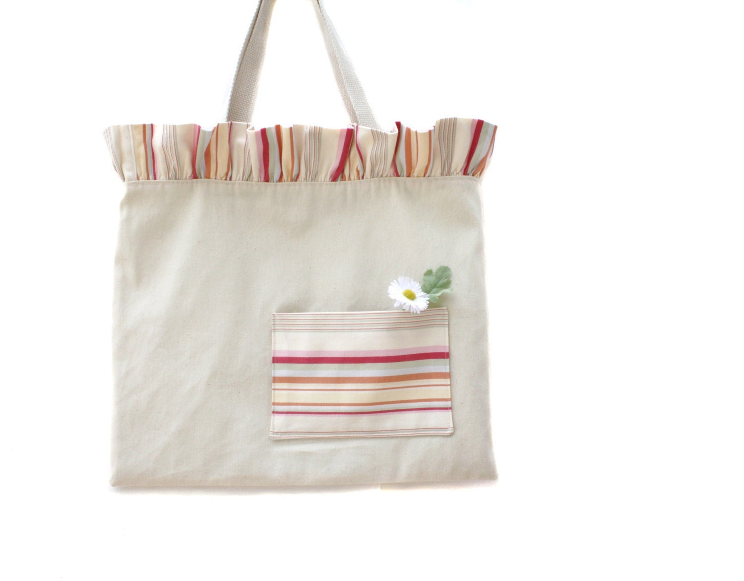 Striped Ruffle Top Tote Bag with Front Pocket
