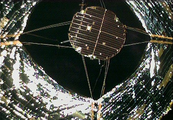 On June 15, 2010 (Japan Standard Time), a small separation camera was jettisoned from IKAROS to photograph the solar sail in its entirety.