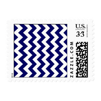 Navy and White Zigzag Postage Stamp
