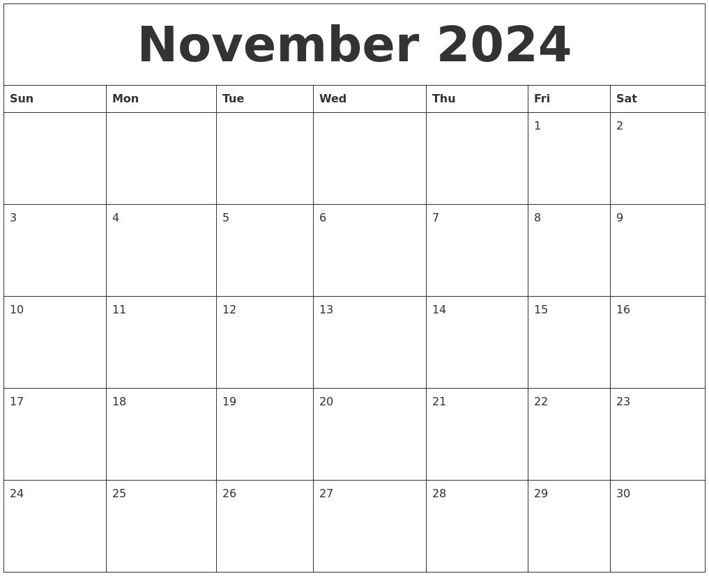 november 2024 free printable calendar templates