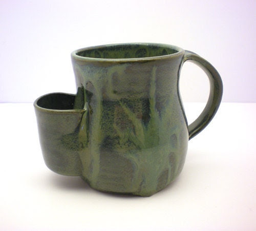 Mug, Tea Drinker's Sidekick,Dark Green Drip Cup