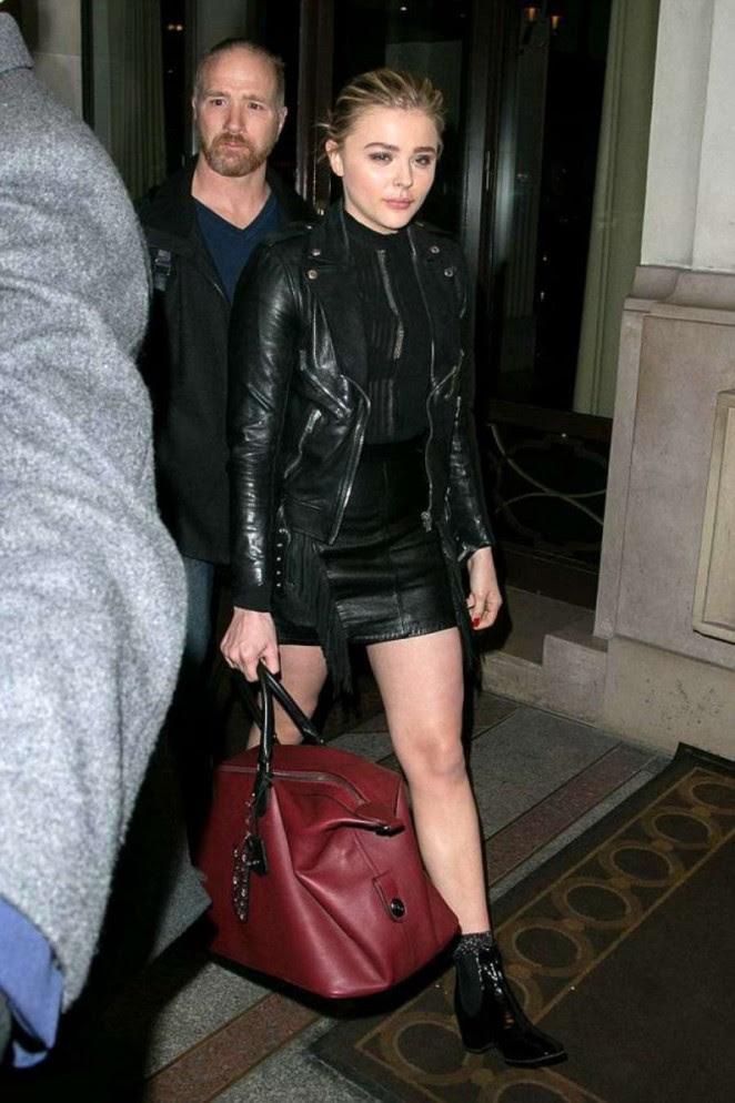 Chloe Moretz in Leather Mini Skirt -02