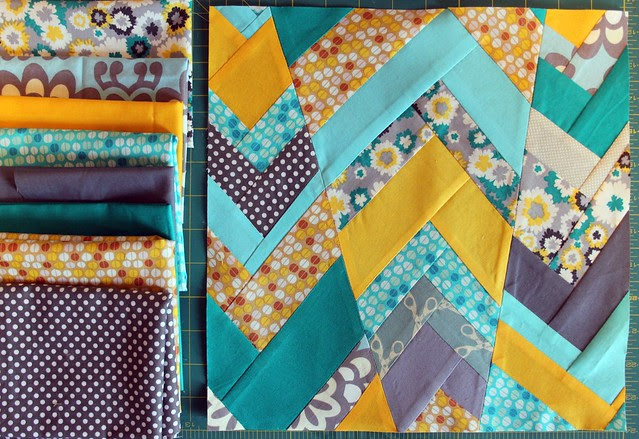 Improv Chevron Bee Block -- stash pulls, brighter, with my favorite Bryant Park print by Kristian A. Howell for Anthology Fabrics