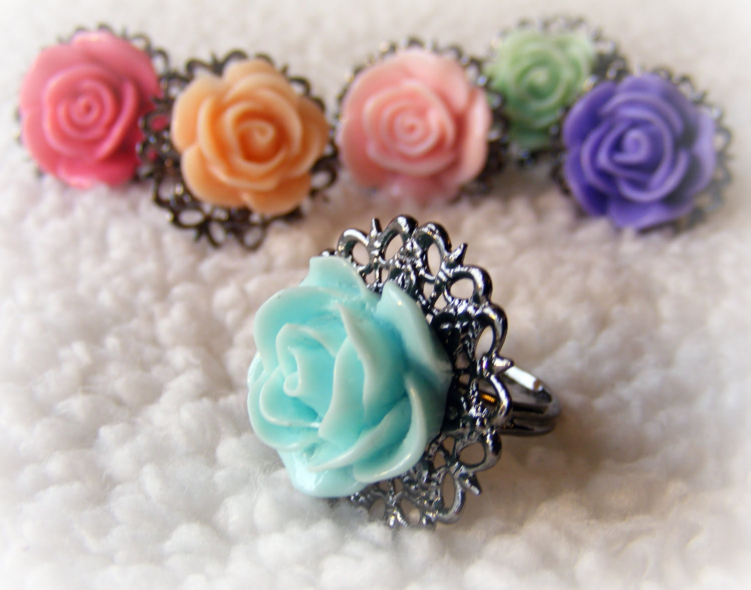 Ring Filigree Rose for Spring (your choice of color)