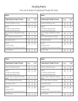 Engineering and Design Plan with Rubric for STEM